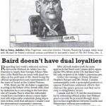 "HRC Letter Published in Hill Times Today Argues ""Baird Doesn't Have Dual Loyalties"""