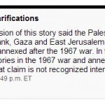 """CBC Corrects: Israel Annexed East Jerusalem Only, Settlements Not """"Foremost"""" Obstacle to Peace"""
