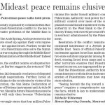 "HRC Letter in Guelph Mercury Explains ""Why Mideast Peace Remains Elusive"""