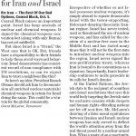 """HRC Letter Published in National Post: """"Don't Compare Israel to Iran"""""""