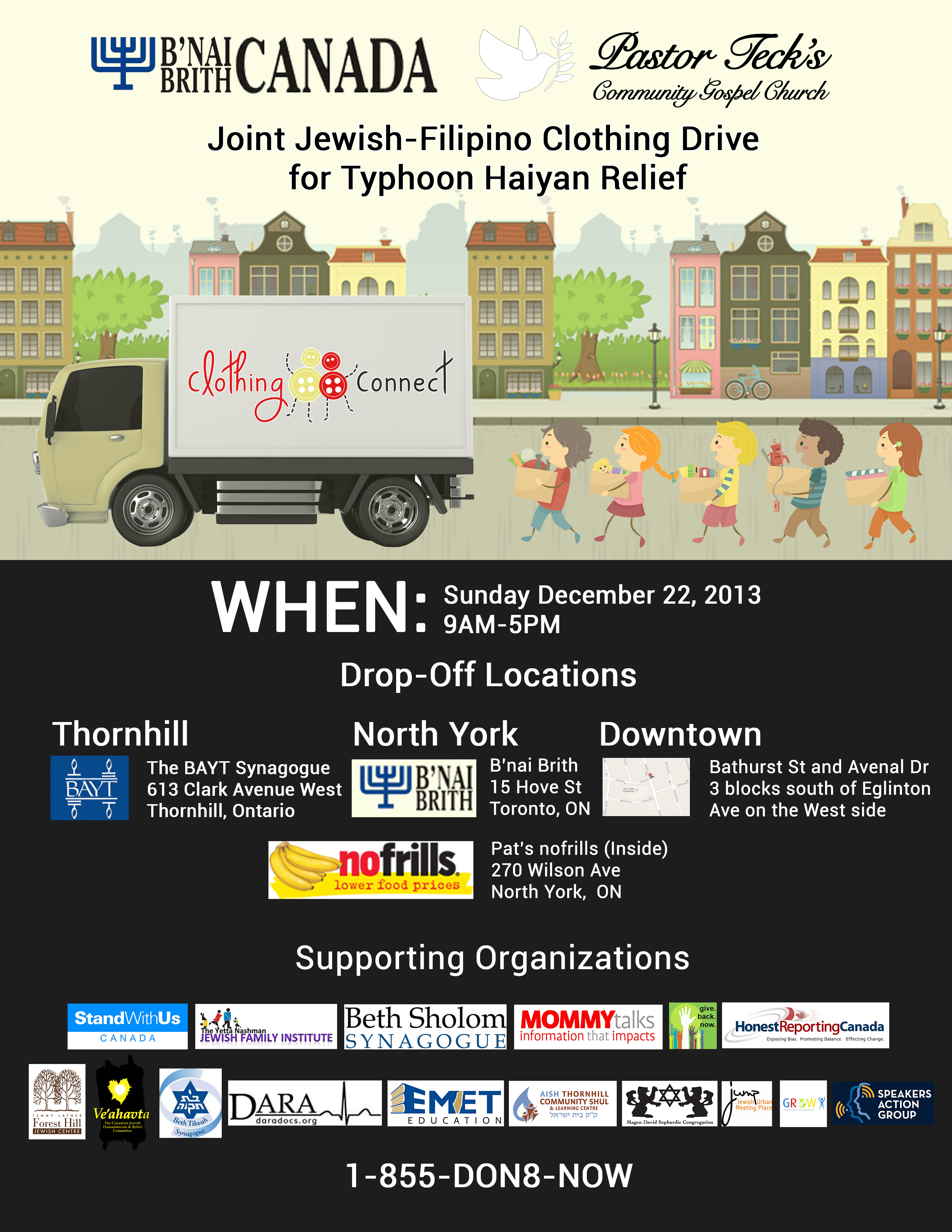 Joint Jewish-Filipino Clothing Drive for Typhoon Haiyan Relief on Dec. 22