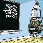 Edmonton Journal Cartoon: Hamas Adorns Missile Duncecap