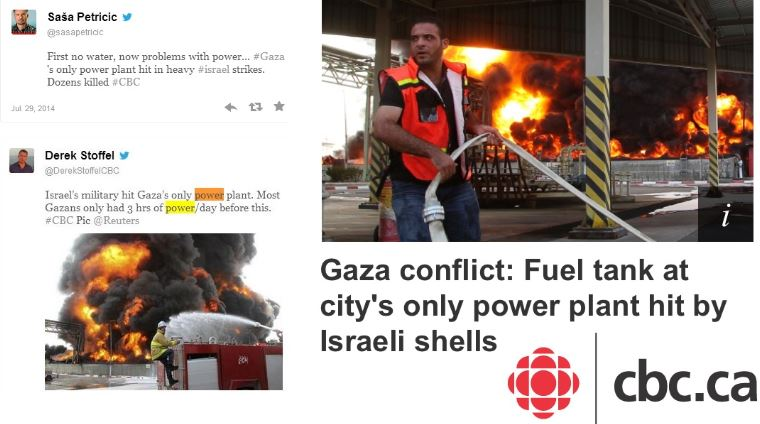 Ombud Upholds HRC Complant: CBC Unfairly Blamed Israel for Targeting Gaza Power Plant