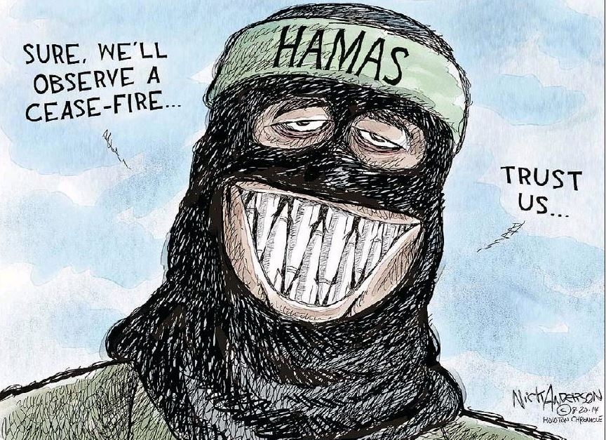 Calgary Herald Cartoon: Surely Hamas Will Observe a Ceasefire!