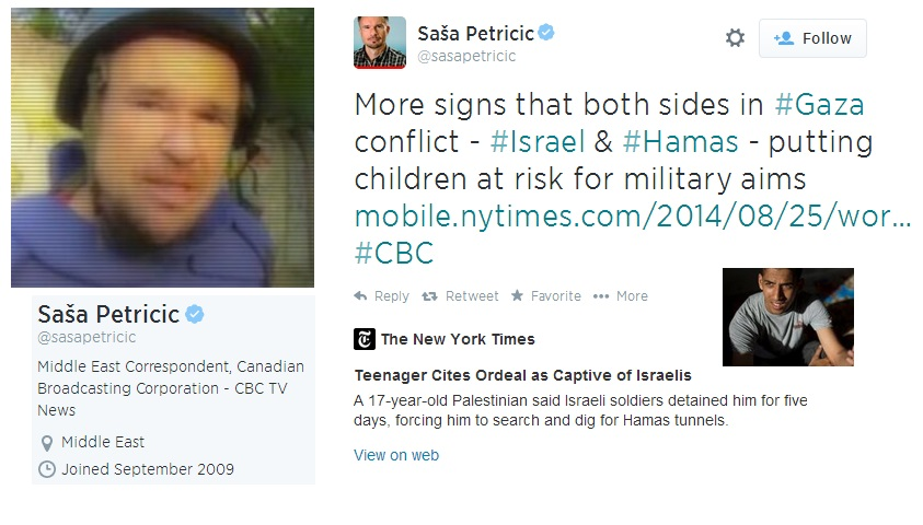 """CBC Reporter Claims Israel Put """"Children at Risk for Military Aims"""""""