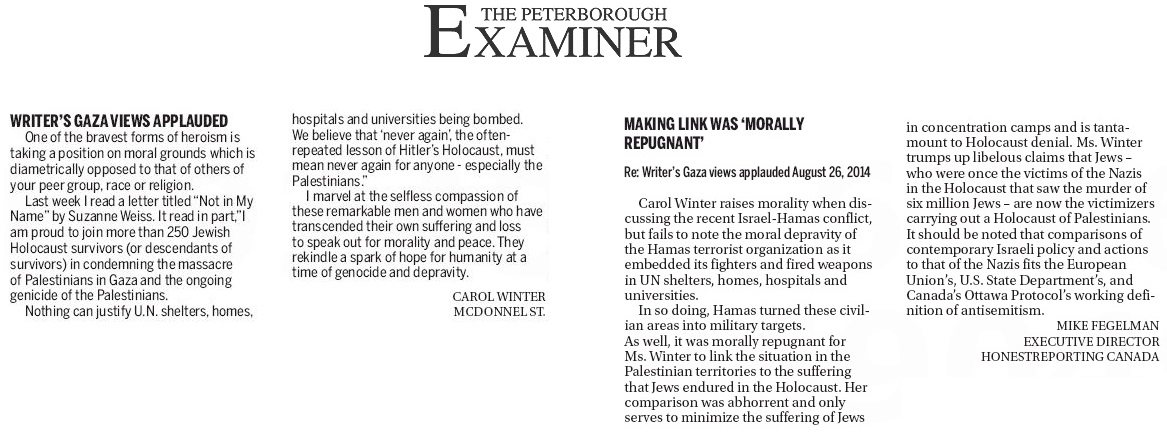 """HRC in Peterborough Examiner Today: """"Making Link was 'Morally Repugnant"""""""