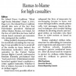 "In the Charlottetown Guardian, HRC Says: ""Hamas to Blame for High Civilian Casualties"""
