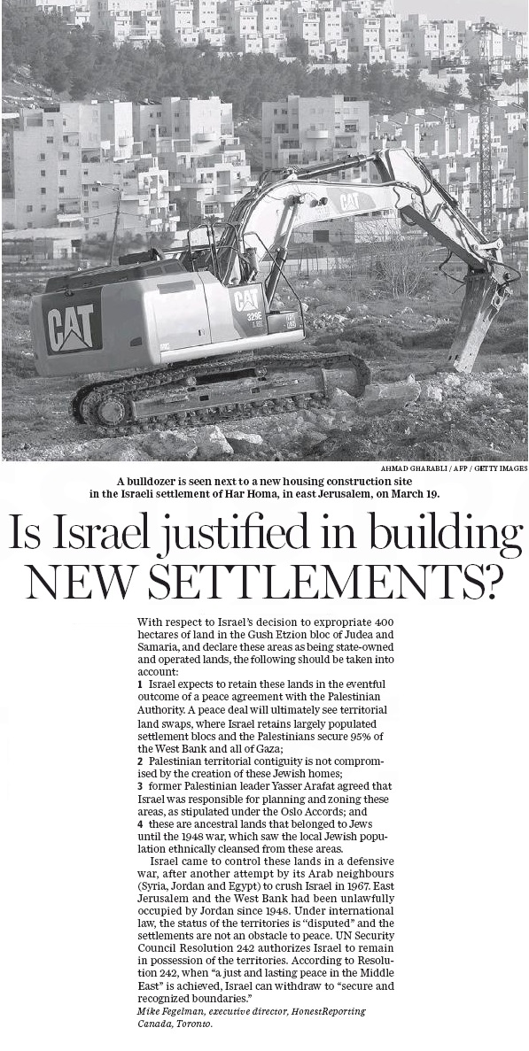 HRC Comments n National Post on Israel's Decision to Expropriate Land in Judea & Samaria