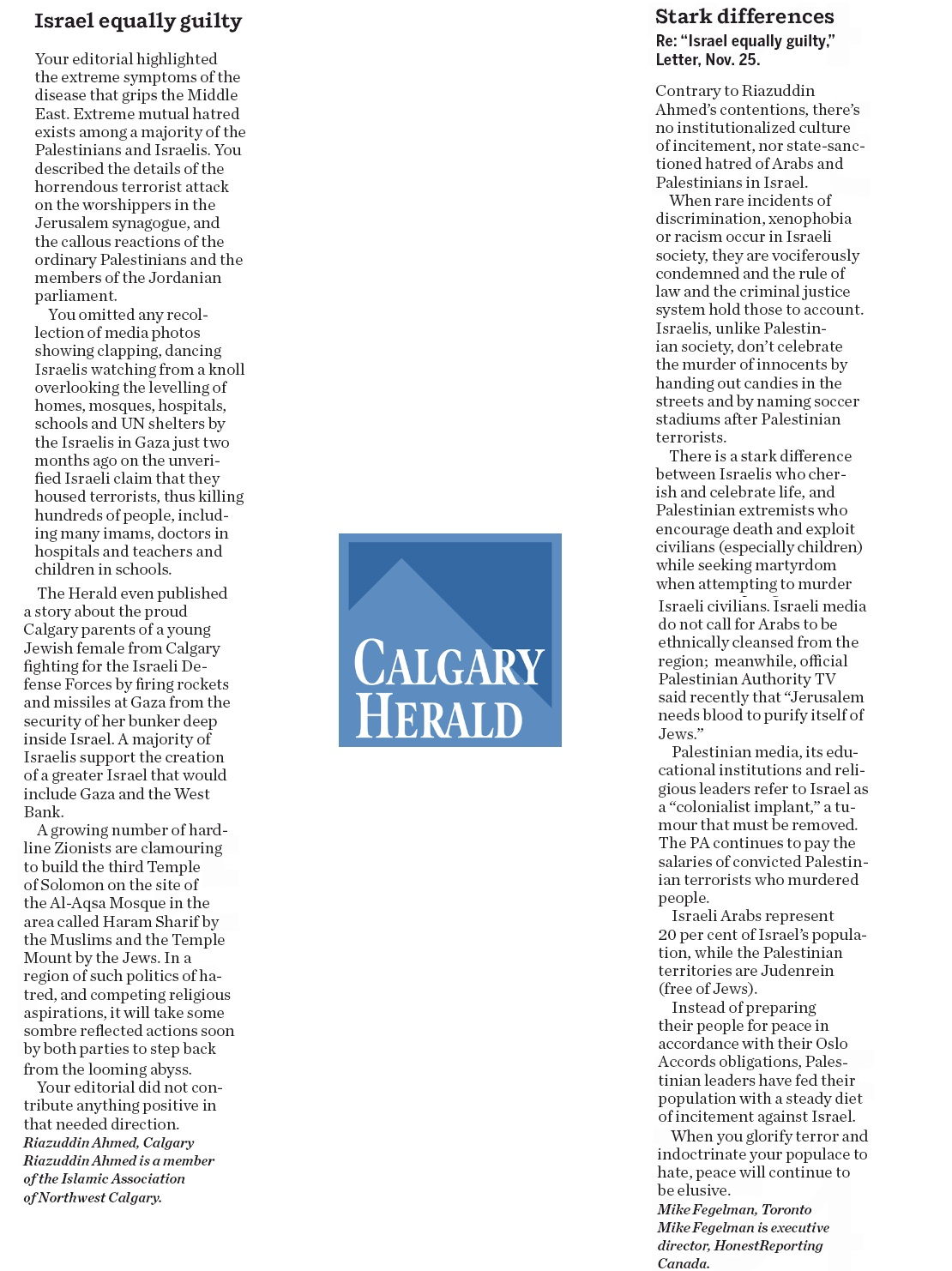 In Calgary Herald, HRC Exposes Palestinian Incitement Against Israel