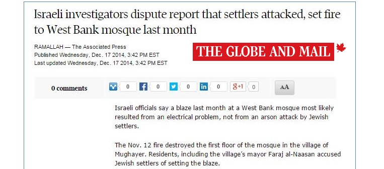 HRC Prompts Globe Article: Israel Disputes Claim that Settlers Set Fire to West Bank Mosque