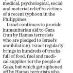 "HRC in Calgary Herald Today: ""Israel Shows Up To Help"""
