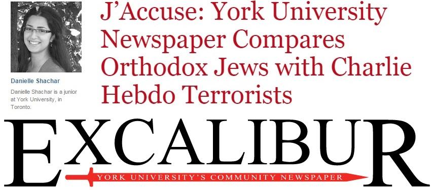 J'Accuse: York University Newspaper Compares Orthodox Jews with Charlie Hebdo Terrorists