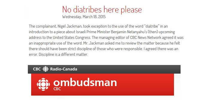 """CBC Ombud: Anchor's Calling Israeli PM's Scheduled Speech to Congress a """"Diatribe"""" was an Error"""