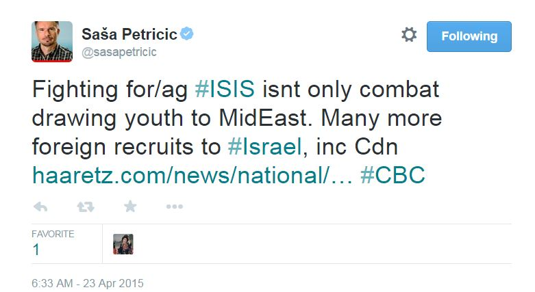 CBC Reporter Compares ISIS Terrorists to Foreign Recruits of Israeli Forces