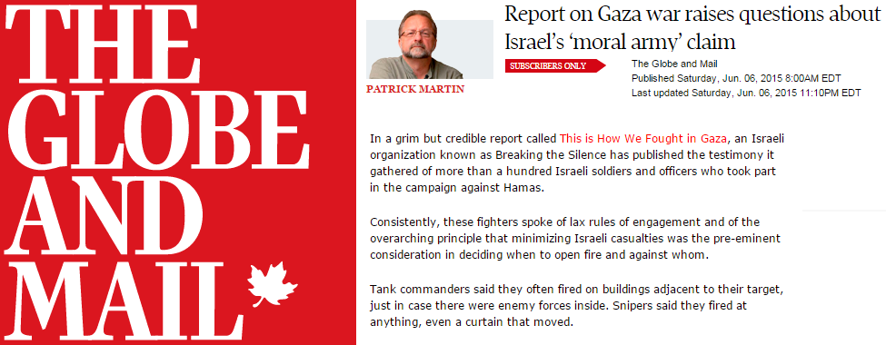 """Globe & Mail Presents Dubious Anti-Israel Organization's Report as """"Credible"""""""