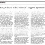 """Globe Headline Wrongly Implies that Canada """"Won't Support (Iran Nuclear) Agreement"""""""