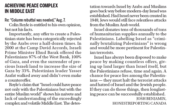 """HRC in Kingston Whig-Standard: """"Achieving Peace Complex in Middle East"""""""