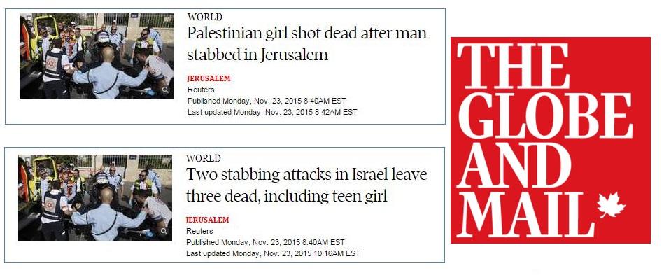Globe and Mail Headline Equates Palestinian Terrorists with Israeli Victim