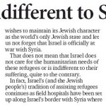 "HRC in Prince George Citizen: ""Israel Not Indifferent to Syrians"""