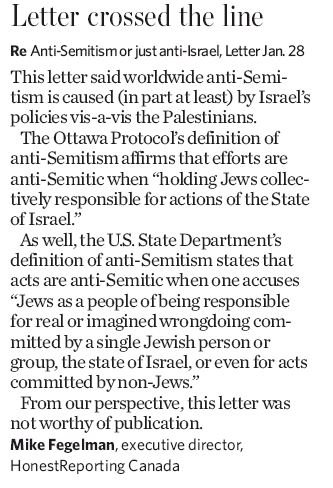 In Toronto Star, HRC Says Antisemitic Letter Crossed the Line