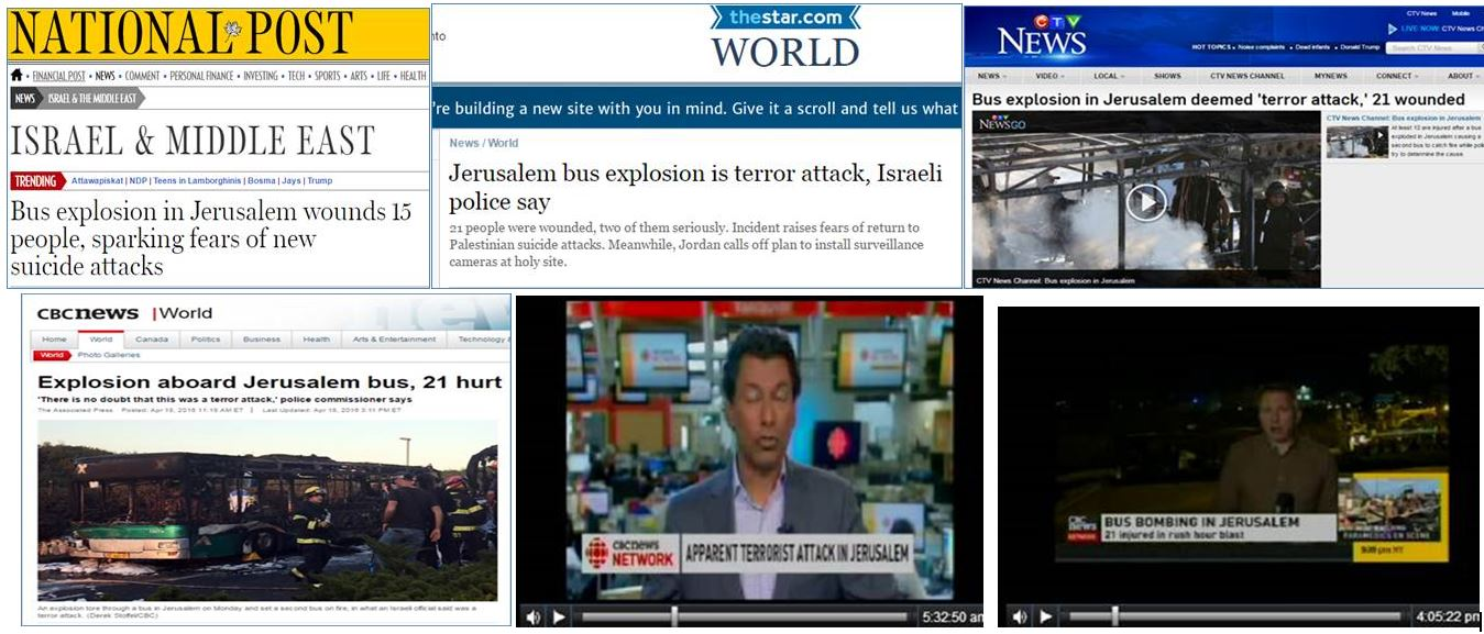 Globe and Mail Ignores Terror Bus Bombing in Israel