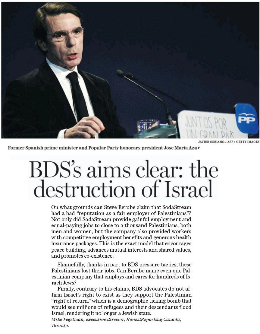 "HRC in National Post: ""BDS's Aims Are Clear: The Destruction of Israel"""