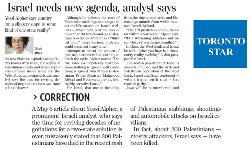 HRC Prompts Toronto Star Correction: Majority of 200 Dead Palestinians Were Attackers