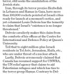 In Kingston Whig-Standard HRC Asserts that Iran Still Seeks Israel's Annihilation