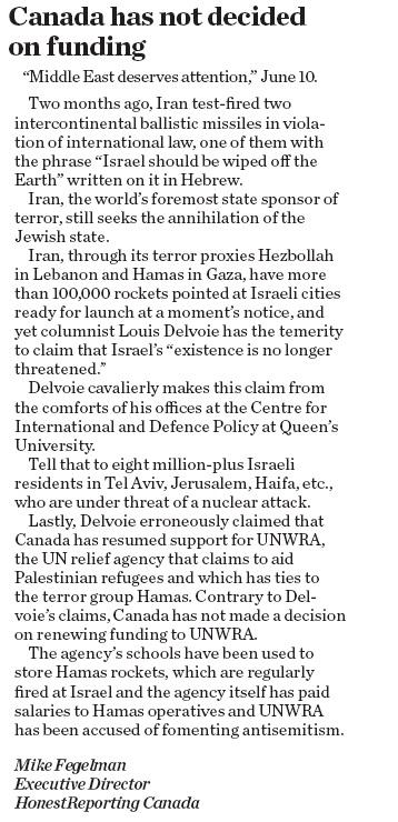 In Kingston Whig-Standard HRC Asserts that Iran Still Seeks Israel's Annihilation