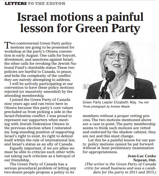 Green Party Critic Condemns Party's Anti-Israel Motions in Hill Times