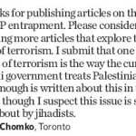 "Toronto Star Letter Writer Claims Israel is ""One Great Cause(s) of Terrorism""."