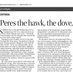 Winnipeg Free Press and Chronicle Herald Editorials Laud Shimon Peres