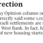 HRC Prompts Globe and Mail Correction: Israel Isn't Building 1,000 New Settlements