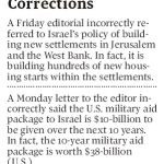 HRC Prompts 2 Globe & Mail Corrections on Settlements and U.S. Aid to Israel