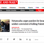 "Globe and Mail Headlines Fail to Identify Dead Palestinian as an ""Attacker"""