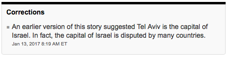 HRC Prompts CBC and Globe & Mail Correction: Tel Aviv Not Israel's Capital