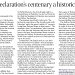 "HRC Commentary in Winnipeg Free Press: ""Balfour Declaration's Centenary a Historic Moment"""