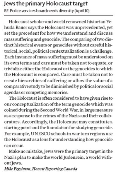 HRC in Hamilton Spectator: Jews the Primary Holocaust Target