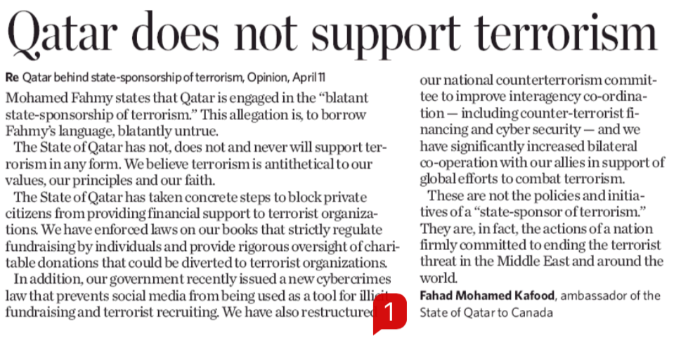 "In Toronto Star, Qatar Claims it ""Does Not Support Terrorism"""