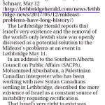 Debating Israel's Right to Exist Is Appalling HRC Says in Lethbridge Herald